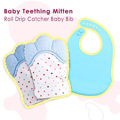 Pack of 2 Baby Teething Mittens + Bonus Waterproof Silicone Bib with Food Catcher Pocket Self Soothing Pain Relief BPA Free Infant Toddlers Stimulating Teether Toys Babies Chew Stand on Hand Glove