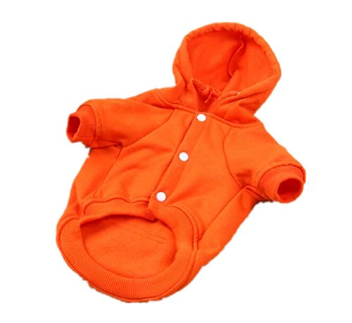 Inzoey Adjustable Warm Puppy Clothes for Dog Cat Puppy Outwear Coat Sweatshirt Orange XL ()