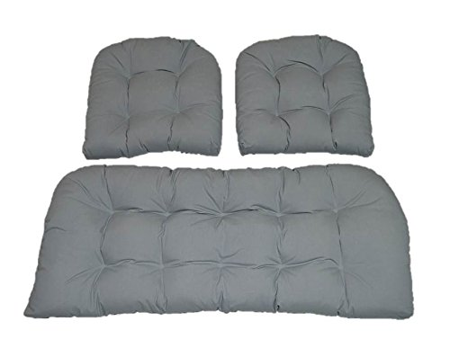 3 Piece Wicker Cushion Set - Solid Dove Gray / Grey Indoor / Outdoor Fabric Cushion for Wicker Loveseat Settee & 2 Matching Chair Cushions ()