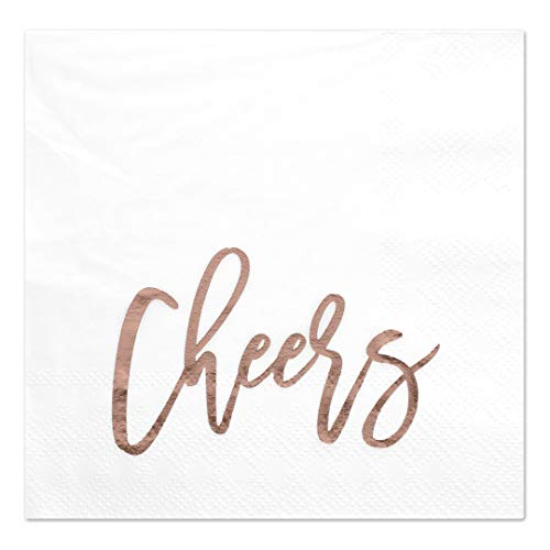 (Andaz Press Cheers, Funny Quotes Cocktail Napkins, Rose Gold Foil, Bulk 50-Pack Count 3-Ply Disposable Fun Beverage Napkins for Birthday Party, Holiday, Thanksgiving, Christmas, New Year's Eve Bar)