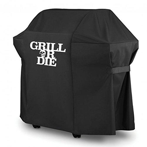 GRILL OR DIE® GT52 Grillabdeckung für Weber Spirit Gasgrill ★ schwarz mit Aufdruck in Premium-Qualität ★ BBQ Grill Schutzhülle - Referenz Cover 7101 (133cm / 52 in, Schwarz)