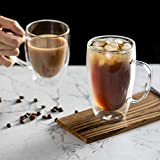 MEWAY 12oz/2 PACK Coffee Mugs,Clear Glass Double