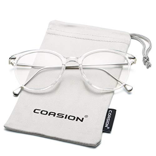 Transparent Frame Silver (COASION Vintage Round Clear Glasses Non-Prescription Eyeglasses Frames for Women Men (Transparent/Silver))