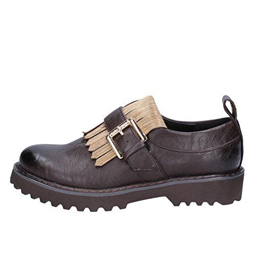 Marron pour Ville Lacets de LOPEZ Chaussures SARA à Foncé Femme 7qY8n