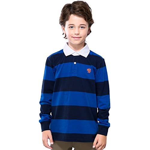 Leo&Lily Boys' Long Sleeves Striped Cardigan Rugby Polo Shirt (Blue,14)