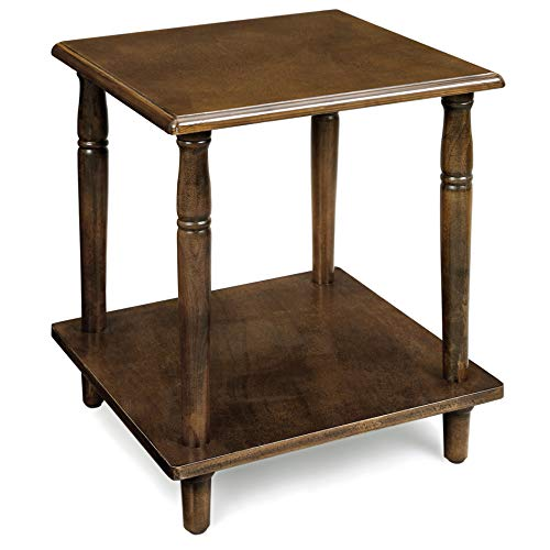 VASAGLE Side Table, 2-Tier End Table with Solid Wood Legs, Roman Column, Easy Assembly, for Living Room, Bedroom, Entryway, Wood Grain Brown ULET12CB