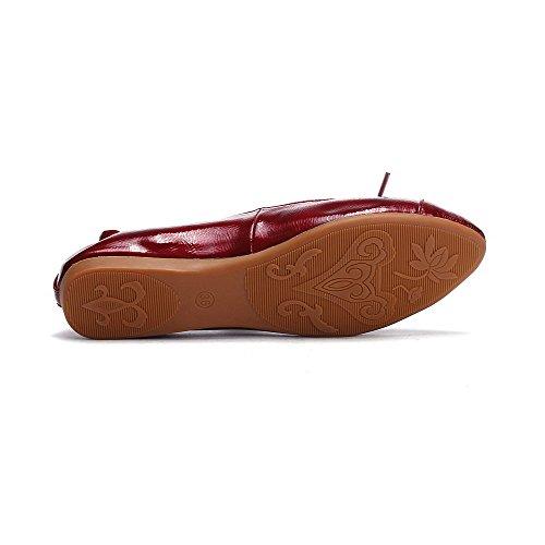 Weenfashion Kvinnor Lackläder Pekade Stängd Tå Ingen Hälen Pull På Fast Flats-shoes Rödvin