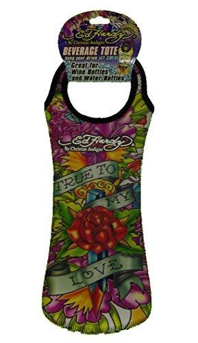 Ed Hardy By Christian Audigier Neoprene Reusable Wine Bottle Tote Gift Bag, Tattoo for Men, Women (True Love)
