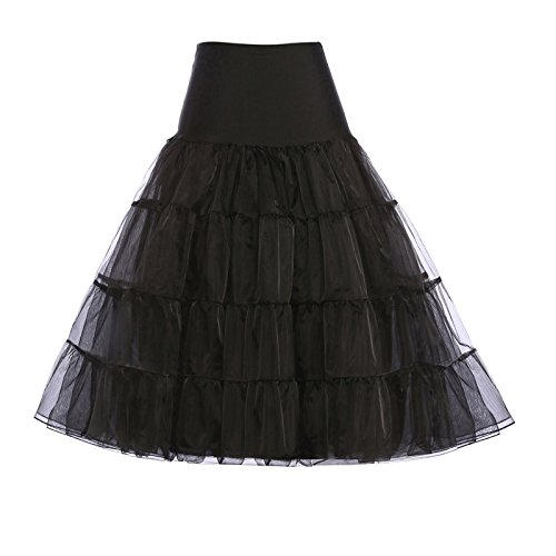 GRACE KARIN Dresses Women's Cute Flattering Short Under Skirts Below Knee 30 inch Black Petticoat (Black,S)