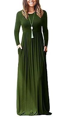 DICOOL Women Long Sleeve Maxi Dress Plain Swing Casual Long Dresses With Pockets