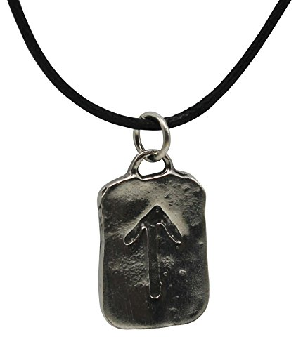 Pewter Runestone Pendant With 33 Cord Necklace on Legend Card (TYR - - Bracelet Watch Claddagh