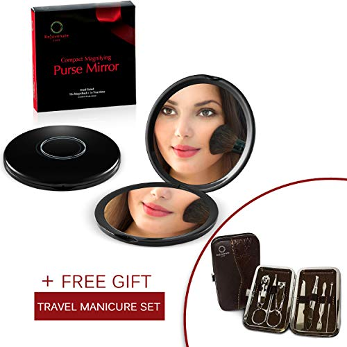 Rejuvenate Care - Compact Mirror 10X Magnifying Makeup Mirror Perfect for Travel Purse 2 Sided With 10X Magnifying Mirror 1X True Mirror