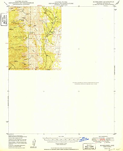 YellowMaps Bumblebee AZ topo map, 1:62500 Scale, 15 X 15 Minute, Historical, 1950, 20.7 x 16.9 in - Paper