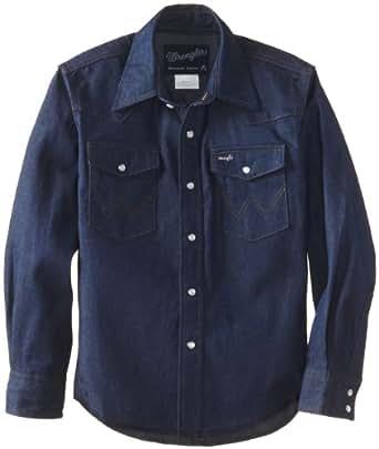 Wrangler Boy's Basic Solid Snap Shirt Navy Indigo, XX-Small