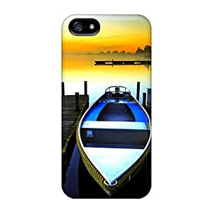 Tpu Case Cover For Iphone 5/5s Strong Protect Case - Resting Boats At Sunrise Design
