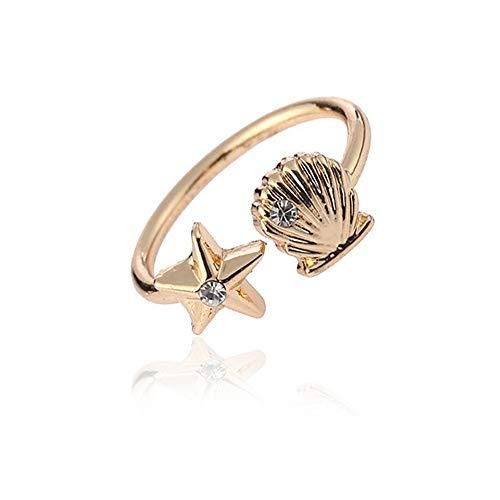 (RUIZHEN Open Adjustable Starfish Seashell Beach Finger Rings (Gold) )