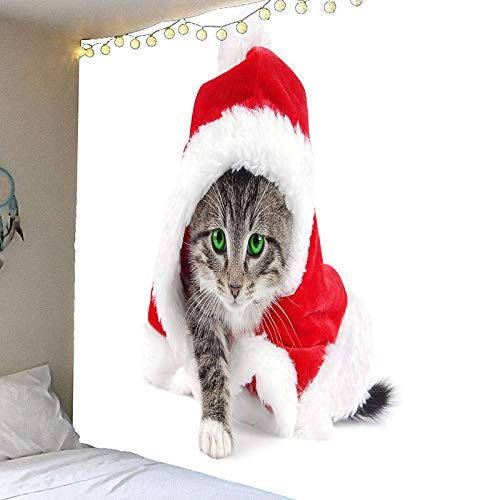 Christmas Cat Tapestry Wall Hanging, Cute Kitten Kitty Cat in Halloween Hat Costume Pattern Print Tapestries Christmas Animal Theme Wall Decor Art Wall Blanket for Christmas Day Xmas Decoration]()