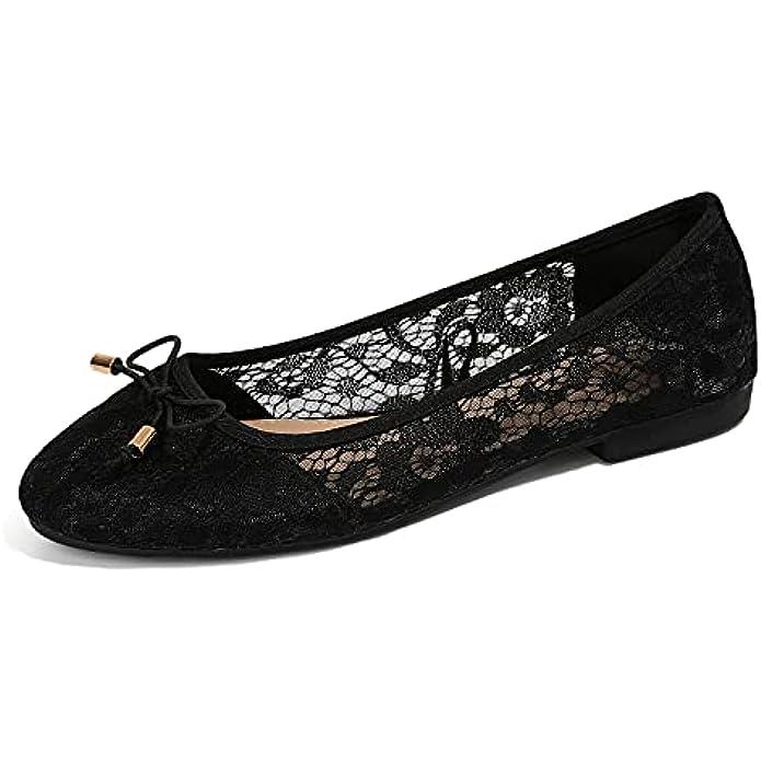 MUSSHOE Ballet Flats for Women Floral Breathable Crochet Lace Ballet Shoes Comfortable Slip On Women's Flats