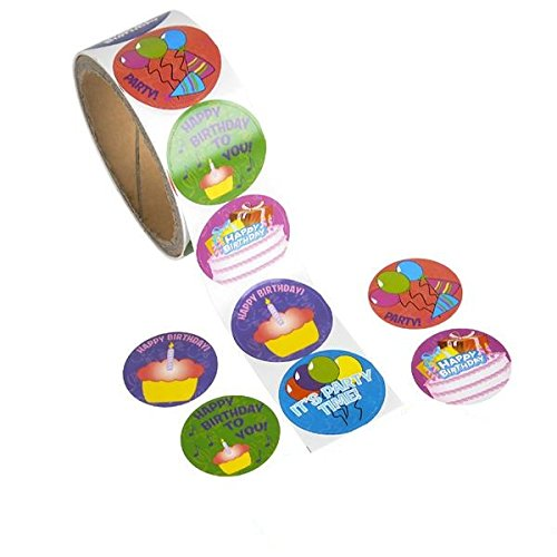 Kicko Happy Birthday Stickers Roll - 3 Rolls of 100 Stickers - Cool and Fun Happy Birthday Greeting Stickers for Kids and Adults - Novelty and Gag Toys, Party Favor, Bag Stuffer, Party Decorations