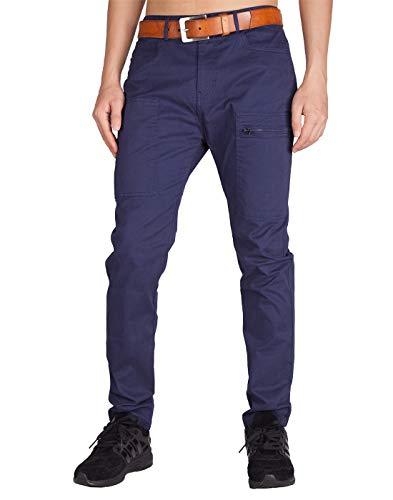 - ITALY MORN Men's Chino Khaki Tapered Casual Pants 38 Midnight Blue