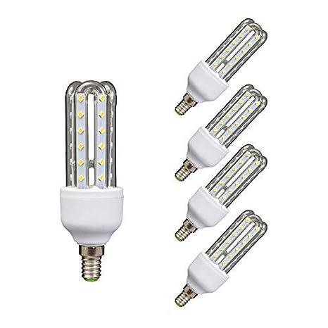 Lámpara Bombilla Led 3U Tubo E14 6400 K Luz Fría 9 W 40808: Amazon ...