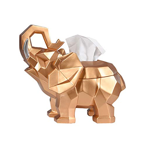 - QAQ Creative Elephant Shape Tissue Box Environmentally Friendly Resin Suitable for Living Room Bedroom Study,Gold,3317.726cm
