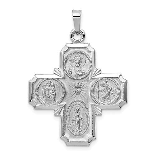 (Solid 14k White Gold Cruciform Four Way Cross Pendant 36x25mm)