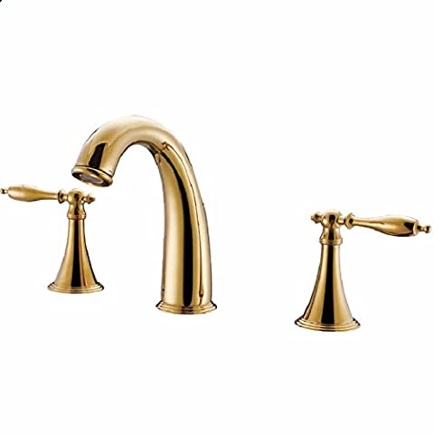 RY-Continental copper-TAP HOLE WASH-BASIN MIXER, Gold 3 - Three Hole Wall Mount Washbasin