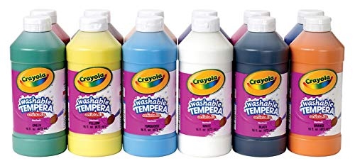 Crayola Artista II Washable Liquid Tempera Paint, Set of 12, 16oz , Assorted Colors (54-8216) by Crayola
