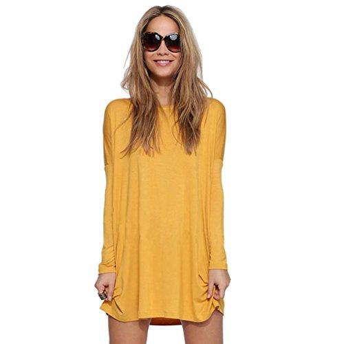 NiSeng Camiseta de punto de manga larga Cuello Redondo Túnica Tops Casual Vestidos para Mujer Amarillo