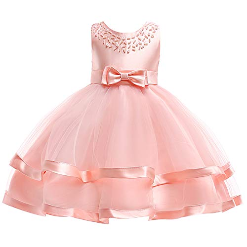 Satin Sundress - SINDE Flower Girl Dress Wedding Party Pageant Princess Dresses for Girls Sleeveless Tulle Ruffles Bow Tie Sundress Pink
