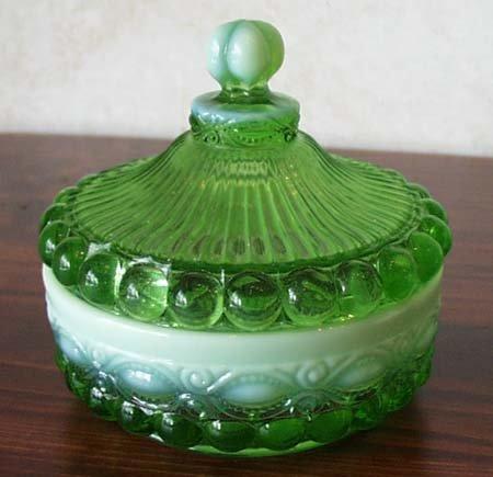 - Mosser Glass Eye Winker Opal Candy Dish with Lid in Green
