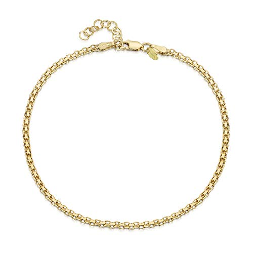 18K Gold Plated on 925 Fine Sterling Silver 2.2 mm Adjustable Anklet - Bismark Chain Ankle Bracelet - 9