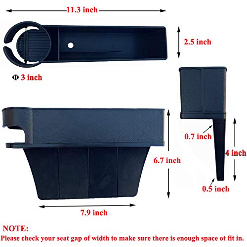 LucklyJone - Bolsa para asiento de coche, bolsillo lateral de consola, organizador de bolsillo para asiento de coche, para teléfonos móviles, monedero con soporte para tazas (2 unidades), Negro