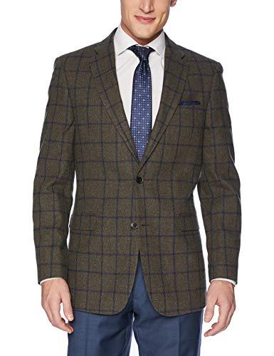 (Tommy Hilfiger Men's Modern Blazer, Grey Windowpane, 48 Regular)