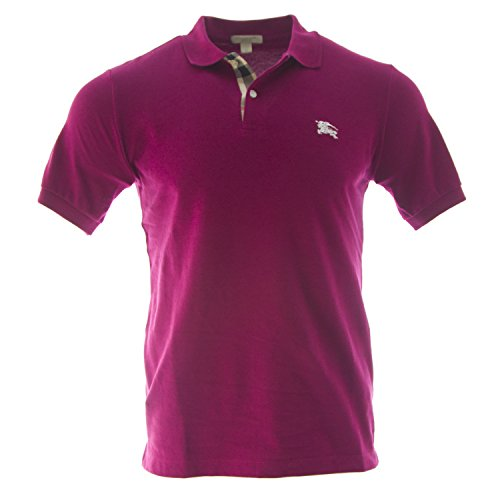 Burberry Brit Men's Check Placket Polo Shirt (Small, Raspberry - Pink Burberry