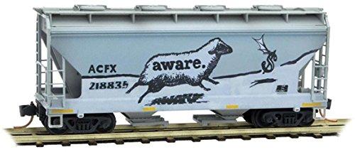 (Micro-Trains MTL N-Scale 2-Bay Covered Hopper ACFX/Aware Graffiti #218835)