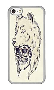 Apple Iphone 5C Case,WENJORS Cute WOLF HAT Hard Case Protective Shell Cell Phone Cover For Apple Iphone 5C - PC Transparent