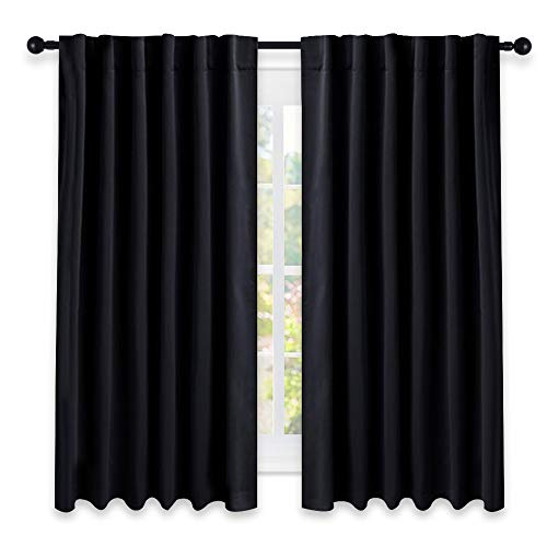 Blackout Curtain Blinds Window Panels - (Black Color) W52 x L63, Double Panels, Thermal Insulated Blackout Draperies for Living Room