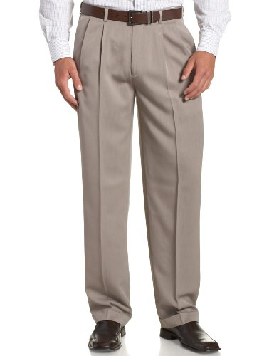 Perry Ellis Men's Portfolio Double Pleated Micro Melange Pant, Simply Taupe, 38x29 (Double Pleated Dress Pants)