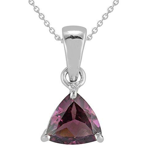 Necklace Garnet Trillion (JewelAngel Women's Sterling Silver Trillion Garnet Necklaces)