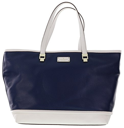 Kate Spade New York Oliver Street Taren Pebbled Leather Shoulder Bag Tote (French Navy/Cream)