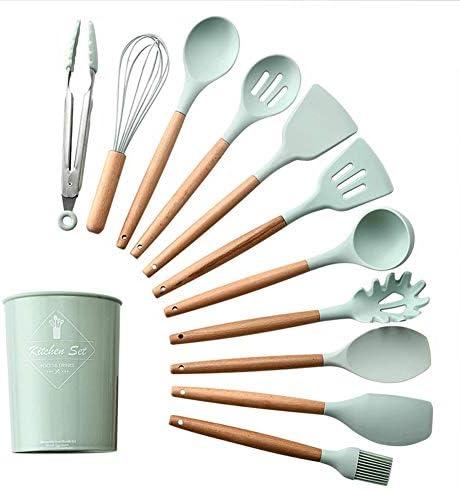 YXL 11個のシリコーンは台所用品セット 保証 正規品  ツールキッチンガジェットの設定を調理へらスプーンで保管バケット木製ハンドル料理