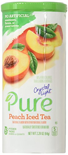 Crystal Light Pure Peach Iced Tea Drink Mix, Pitcher Pack, 5 ct