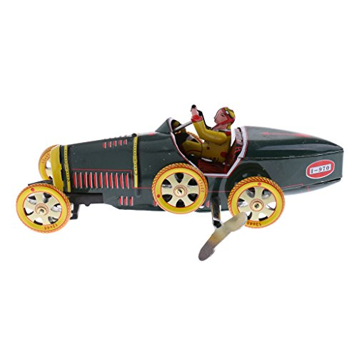 MagiDeal Vintage Mechanical Clockwork Wind Up Convertible Roadster Vehicle Car Collectable Tin Toy Home Ornaments