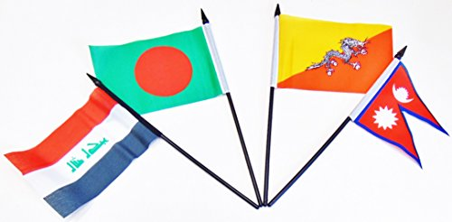 SOUTH CENTRAL ASIA WORLD FLAG SET--20 Polyester 4''x6'' Flags, One Flag for Each Country in South Central Asia, 4x6 Miniature Desk & Table Flags, Small Mini Stick Flags by World Flags Direct (Image #2)