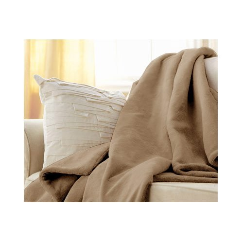 Sunbeam Microplush Throw Camelot Cuddler Heated Electric Warming Blanket with 3 Heat Settings Controller - Mushroom Beige