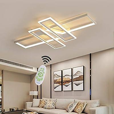 LED Deckenleuchte Wohnzimmer lampen Dimmbar Deckenlampe Hängeleuchte Modern  Platz Chic Decke Leuchen Metall Acryl mit Fernbedienung Innen Schlafzimmer  ...