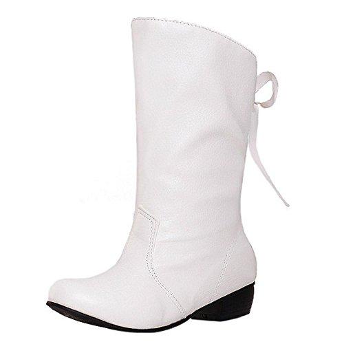 COOLCEPT Damen Mode Niedrige Halbschaft Stiefel Mit Back Schnurung White