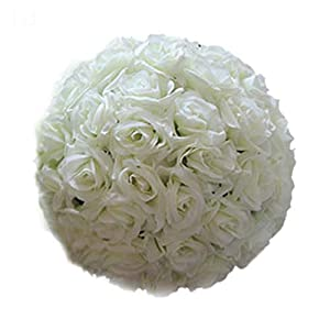 heaven2017 Wedding Artificial Rose Silk Real Looking Flower Ball for Bridal Wedding Bouquets Centerpieces Baby Shower Home Decor - (8 Inch, 1 Piece) 101